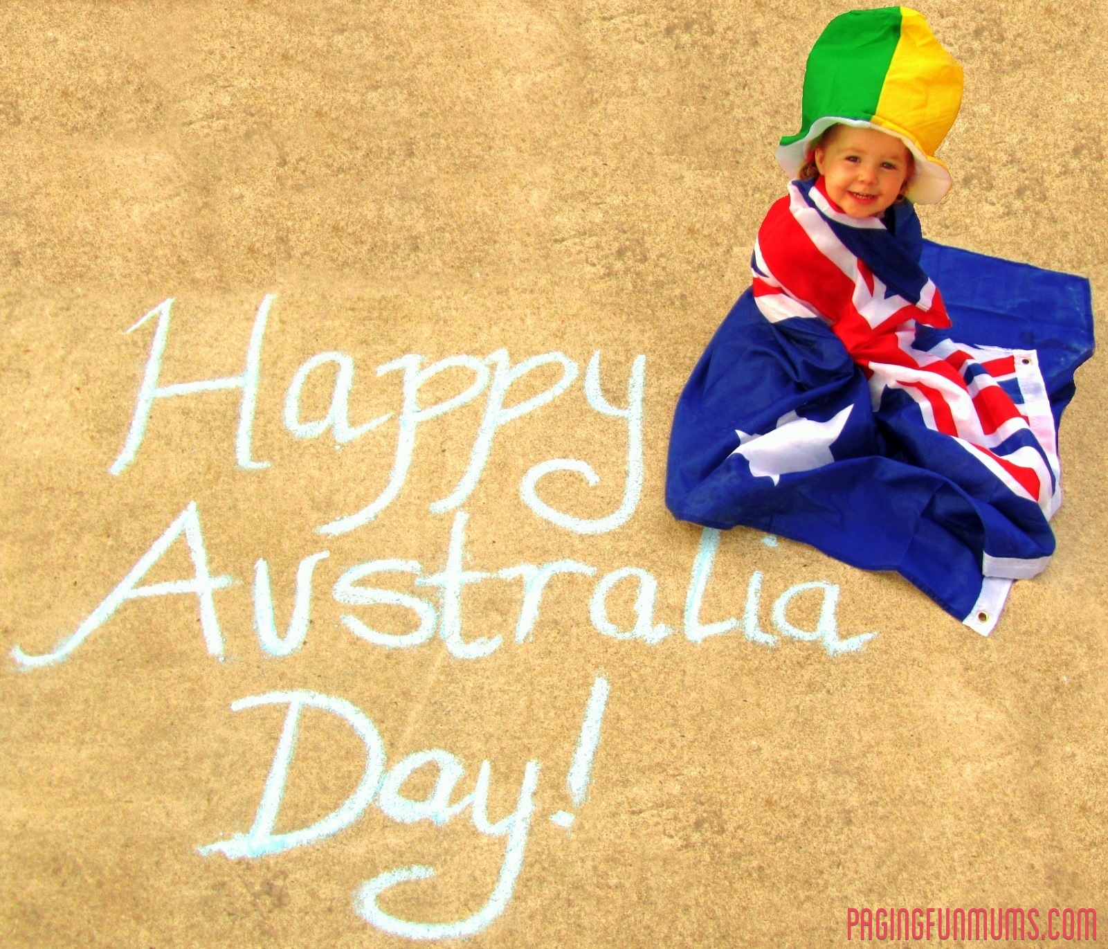You have to love a baby wrapped in an Aussie Flag!