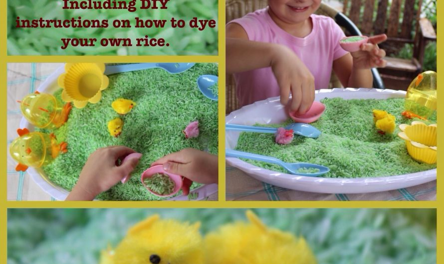 Easter Sensory Play – DIY Dyed Rice (Louise)