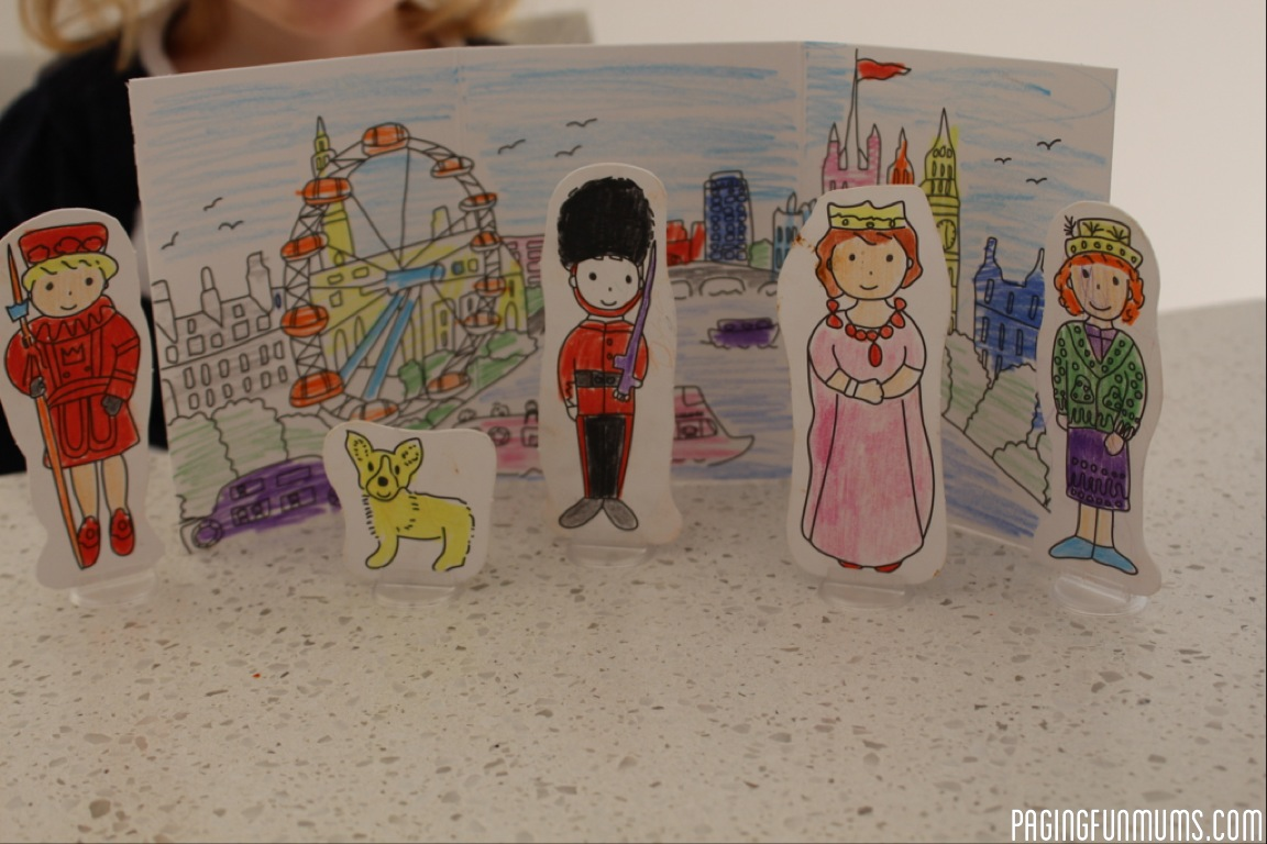 """We had a morning of fun thanks to 'My Little Craft Box"""" (http://www.mylittlecraftbox.com) and this adorable 'Carddies' Box.   The pack comes with cardboard 'puppets' or figurines, colouring in pencils, a scenic background to colour in & little plastic stands to place on the base of your puppets so they can free stand!  Ballet, Fairies, Farm, London, Sports"""