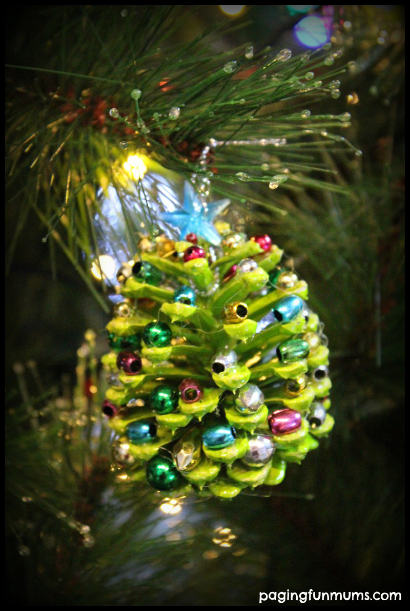 beaded pinecone christmas tree ornament paging fun mums