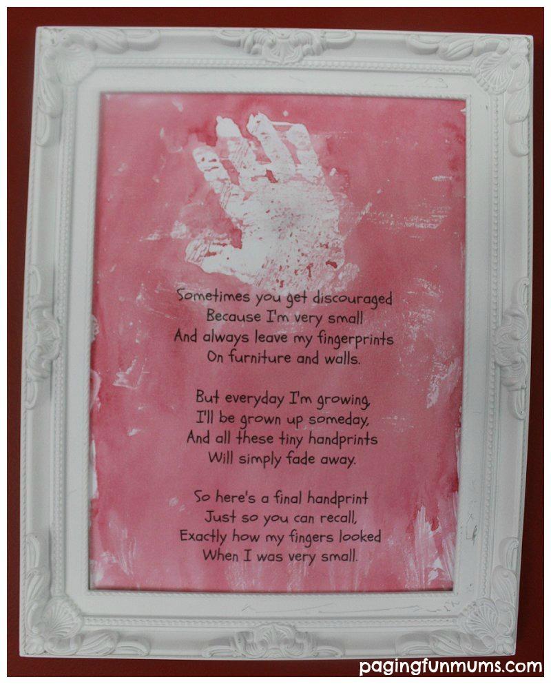 Handprint Art – using paint resist Vaseline.