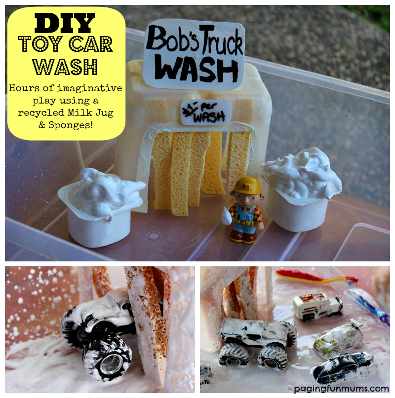 DIY Toy Car Wash using a recycled Milk Jug and Sponges