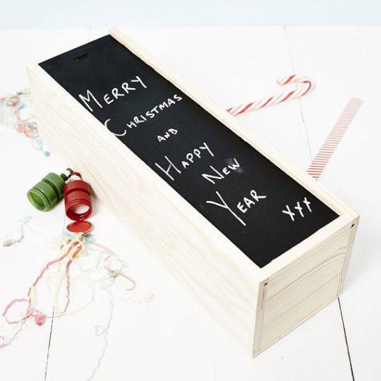 Blackboard Wooden Bottle Box - Clever Christmas packaging idea!