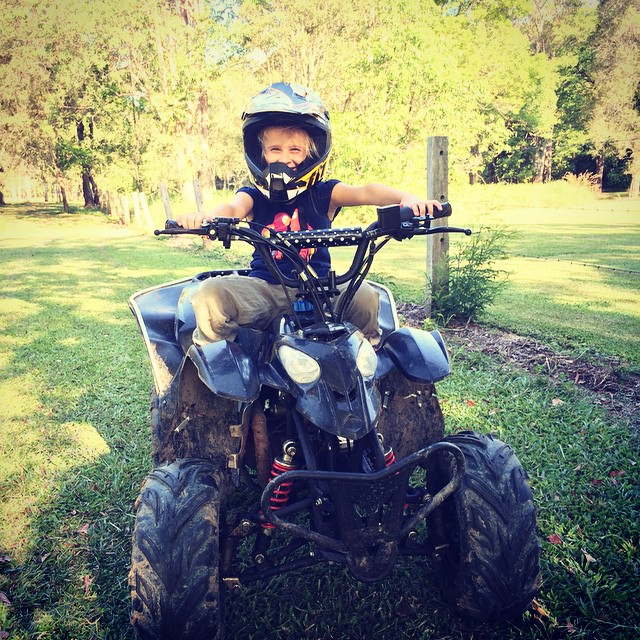 Quad bike time with this crazy driver! #holdontight #farm #familyfun #quadbike Louise x