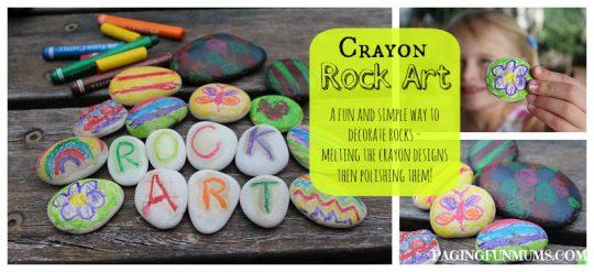 Rock Art - using crayons! Mess free FUN!!