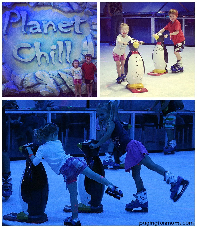 Having FUN on the indoor Ice Skating Rink at Paradise Resort Gold Coast!