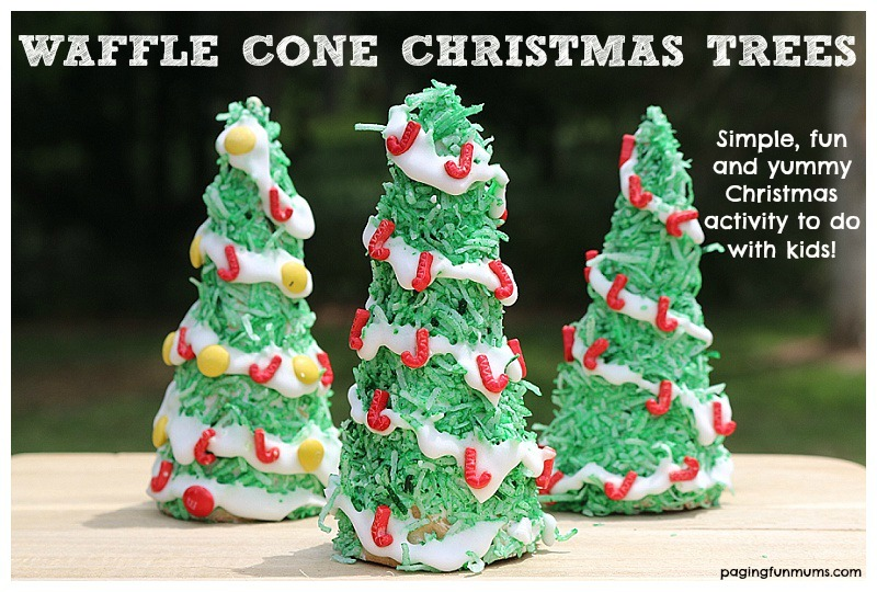 Waffle Cone Christmas Trees - a FUN and easy Christmas activity to do with children!
