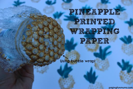 Pineapple Printed Wrapping Paper! Using bubble wrap!