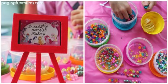 my little pony party bracelet making station