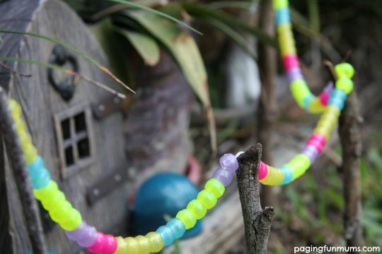 Fairy Garden Garland with glow in the dark beads!
