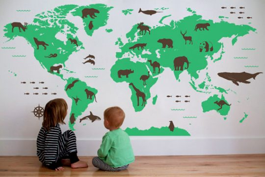 World Map wall decals - what a cool idea!