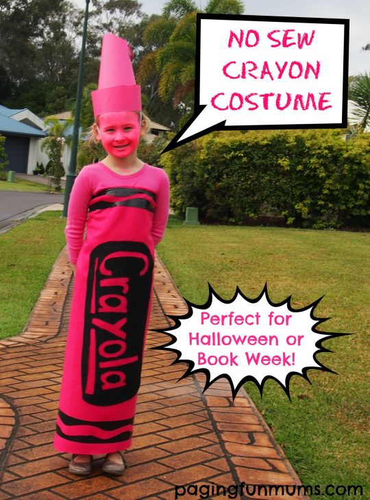 Easy DIY No Sew Crayon Costume Instructions. Perfect for book week or Halloween!