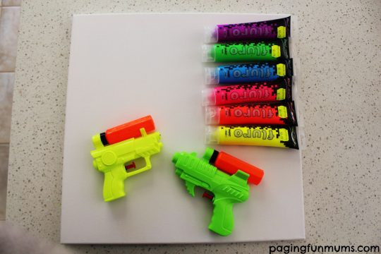 Water pistol canvas painting supplies