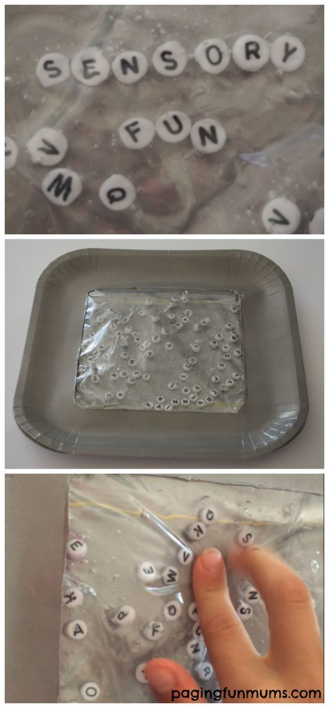 Fun sensory bag using a paper plate! Find-a-word game!