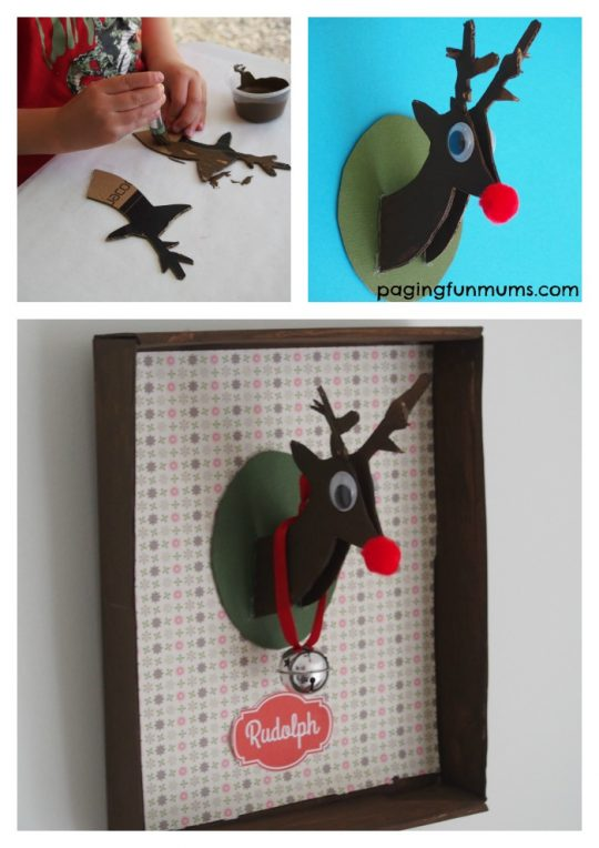 Transform a shoe box into this cute Reindeer wall hanging!