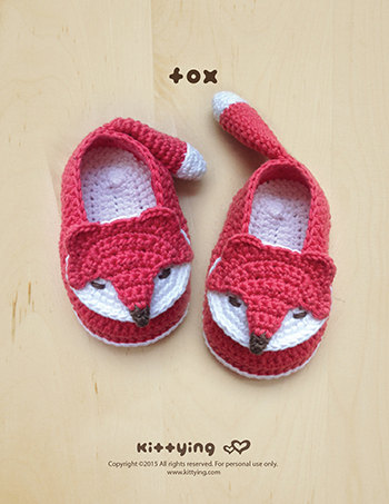 Crochet Fox Slippers pattern
