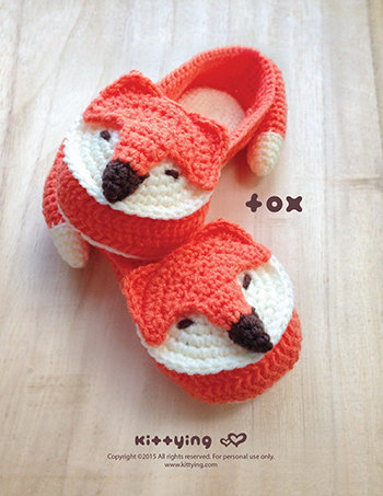 Fox Crochet Slipper Pattern in Adult sizes