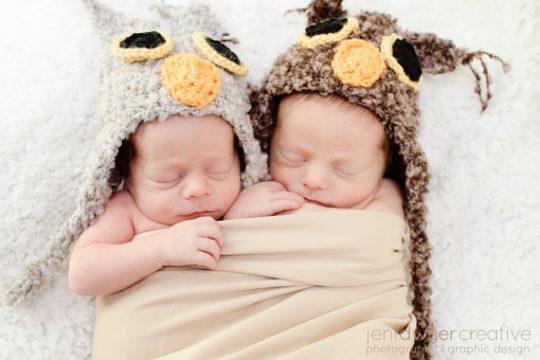 Newborn Twin Owl Hats