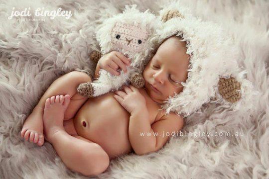 Crochet baby lamb photo prop
