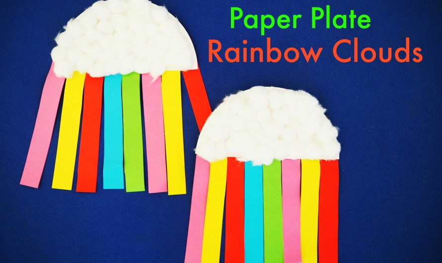 DIY Paper Plate Rainbow Clouds