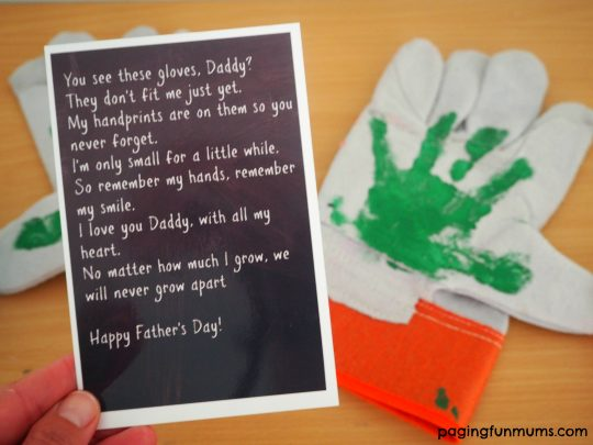 Cute Father's Day Gift Idea! Work glove keepsake! I love this!