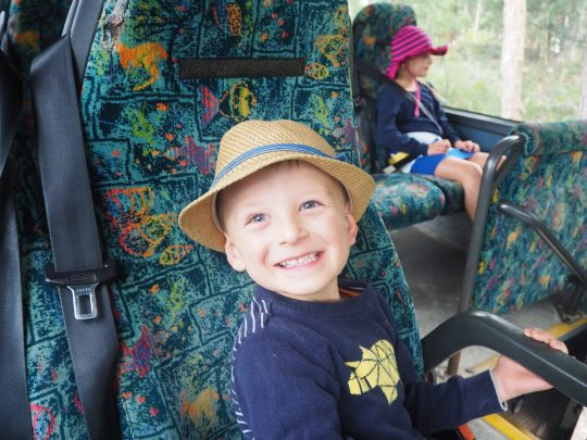 The kids had fun checking out the comfy Kingfisher Bay Coaches!