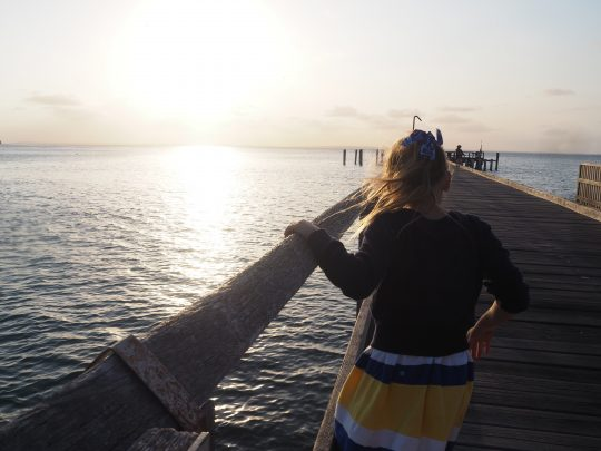 Miss 8 exploring the Jetty at Kingfisher Bay Resort.