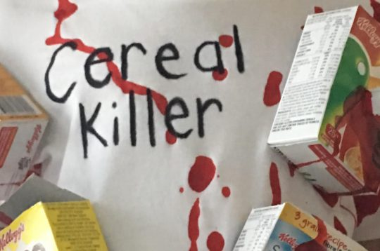 Diy cereal killer halloween costume paging fun mums write cereal killer using the sharpiefabric marker at the top of the shirtwe want everyone to get the costume straight away ccuart Images