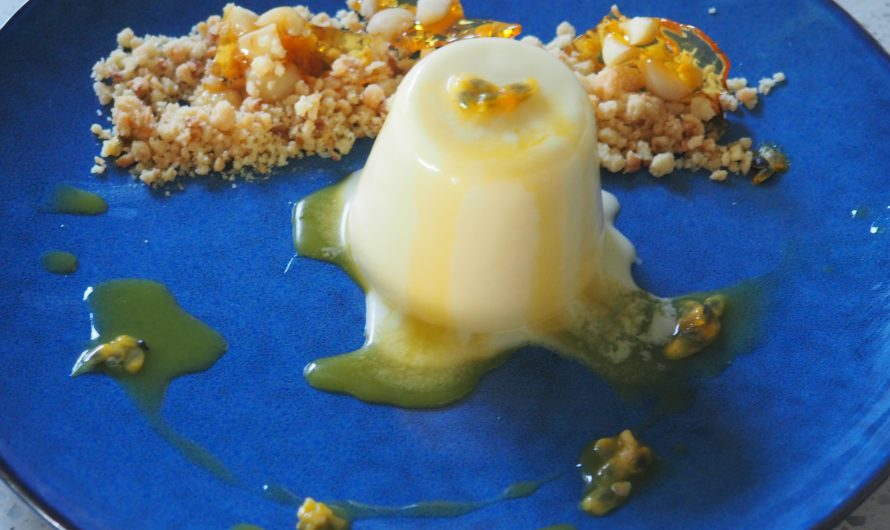 Passionfruit Panna Cotta with Macadamia Crumb
